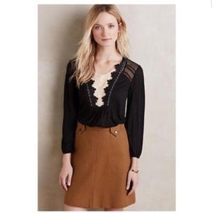 Anthropologie long sleeve black lace top